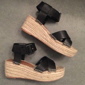 Sole society black leather platform sandals